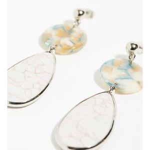 Ivory White Resin Pendant Stone Drop Earrings